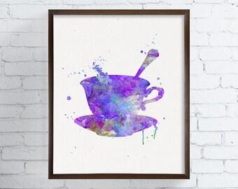 Tea Cup Art, Tea Cup Print, Watercolor Tea Cup, Kitchen Wall Decor, Kitchen Wall Art, Teacup Art, Teacup Print, Housewarming Gift