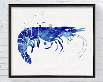 Shrimp Art, Shrimp Print, Watercolor Shrimp, Shrimp Painting, Nautical Wall Decor, Coastal Wall Art, Beach Decor, Sea Life Art, Sea Food Art