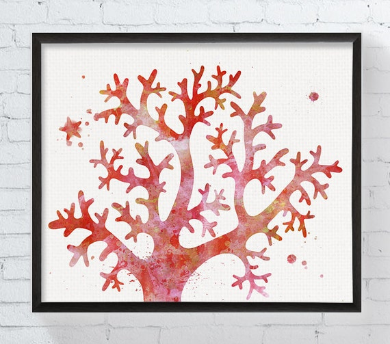 Bathroom Wall Art Canvas Artwork Nautical Coral Reef Ocean: Coral Art Print Watercolor Coral Coral Painting Coral Reef