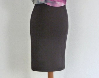Dark Grey Pencil Skirt Jersey Knee Length Skirt High Waisted Skirts for Women