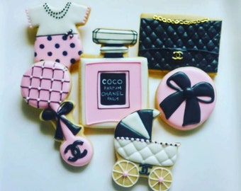 1 DOZEN - Chanel Baby Shower Favors Decorated Cookies Purse Stroller Perfume
