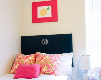 Monogram Dorm Headboard, Linen fabric and Stitched, Oxford Shape