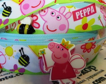 "2.3.4.5 yards  Peppa pig  princess with a bee  printed grosgrain Ribbon 1"" ribbon  Hair bow ribbon"