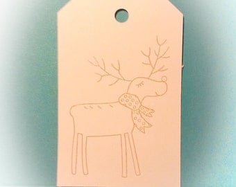 Sep 9 Christmas tag/gift tag Labels reindeer (article 64)