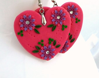 Dangle Earrings, Polymer Clay Jewelry,  Embroidery Filigree Applique Flower Heart Vintage Boho OOAK Handmade
