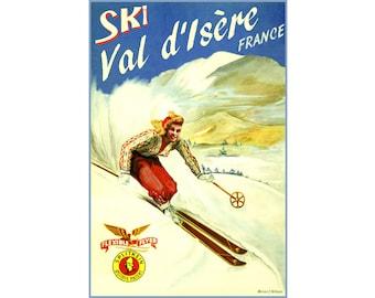 Ski Val d'Isere France New Retro Brigitte Bardot Winter Sports Travel Poster -4 sizes- Flexible Flyer Splitkein Art Print 259