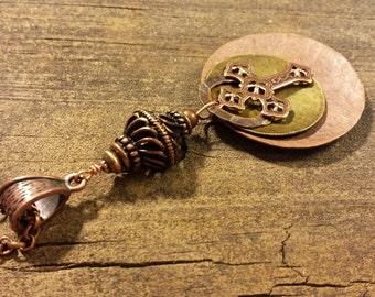 Cross Necklace, Earthy Necklace, Metal Cross Necklace, Mixed Metals Necklace, Pendant Necklace, Boho Necklace