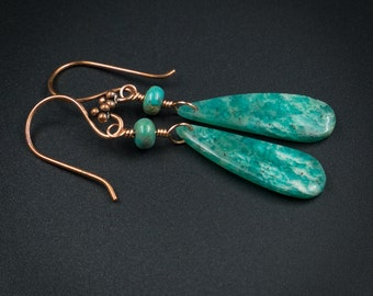 Amazonite earrings  Russian amazonite and copper handmade semiprecious stone drop earrings long drop statement earrings amazonite jewelry