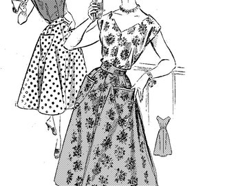 Vintage sewing pattern on 1957, skirt and blouse(overall) PDF