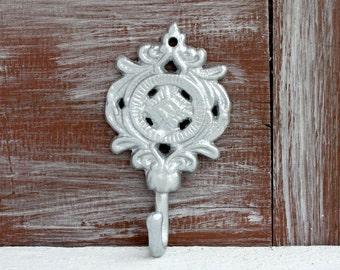 Silver Wall Hook, Bathroom Wall Decor, Decorative Hook, Towel Hook, Ornate Wall Hook, Key Hook, Key Holder, Jewelry Hook, Cast Iron Hook