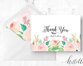 Rustic wedding invitation - botanical wedding - Peach and gold - Peach and mint - Wedding thank you - Wedding thanks - Watercolour card