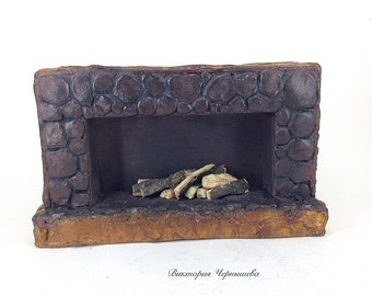 Miniature Stonework Fireplace dollhouse miniature accessoire miniature mini fireplace
