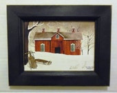 New Fallen Snow .. Billy Jacobs barn print . 7 X 9 wood framed print . primtive home decor . wall hanging . country decor . Made in USA