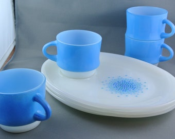 Anchor Hocking - Fire King Blue Mosaic Snack Sets