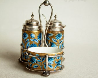 Antique Victorian 1883 Silver Top Porcelain Cruet Set & Silver Stand
