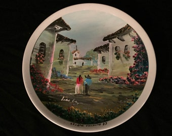 NUEVO SAN ISIDRO hand painted plate with a sign