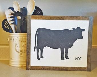 Cow Says Moo, 13 X 10, Cow Sign, Farmhouse Sign, Farm Animal