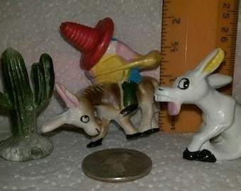 2 pkg. Vintage Mexican Miniature Figurine Cake Toppers, Dish Garden