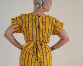 Yellow Sunshine Handmade Lattice Romper
