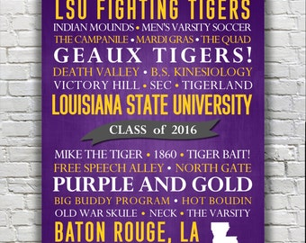 Louisiana State University Tigers Typography Print - CUSTOMIZABLE Graduation Gift