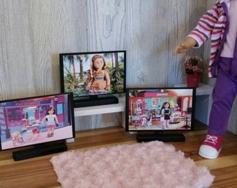 "American Girl 18"" Doll Sized Furniture flat screen tv! hd BIG screen fun!"