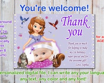 Sophia the first thank you card, princess sophia thank you card, sofia the first thank you card - Digital file