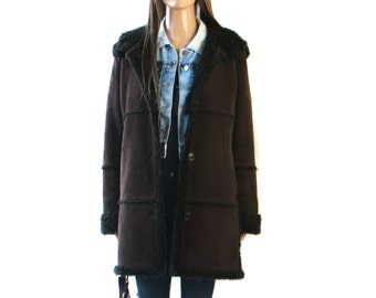 Faux Suede Coat//Jacket//  w/faux fur collar,cuffs,hem, Hooded// Dark Brown /long/m//medium// large//hippie//boho