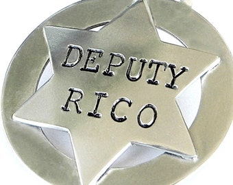 Silver Dog ID Tag - Sheriff Badge - Deputy Badge - Western Style Dog ID Tag - Personalized, Handmade - Cowgirl Style