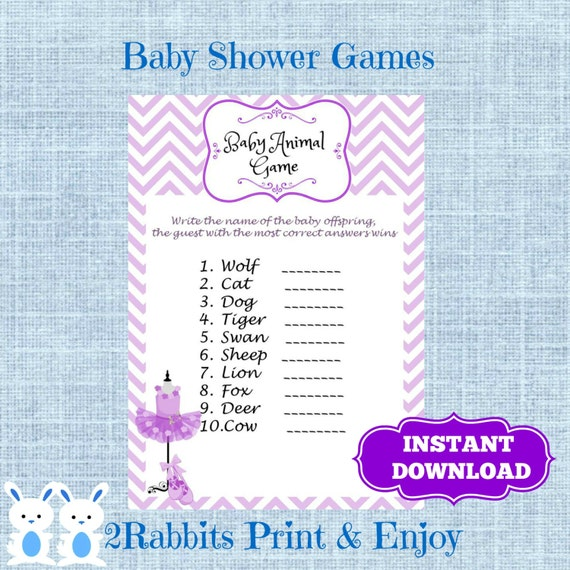 Baby Shower Game Name The Baby Animal: Ballerina Tutu Purple Baby Shower Baby Animal Name Game Name