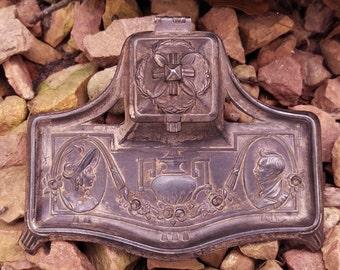 Art Nouveau Cast Iron with Porcelain Inkwell