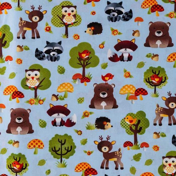 Forest Lake Fabric Home: Forest Friends Children's Fabric 100% Cotton Quilting