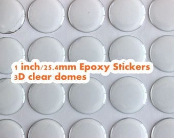 "100 Pcs 1""inch round Premium Epoxy Stickers clear 3D domes, 25.4mm circles epoxy circles for bottle caps, pendant trays, scrapbooking DIY"