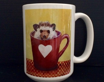 Hedgehog mug, Valentine mug  All you need is love!15 oz Hedgehog love mug