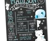 Polar Bear Winter Snow Flake First Birthday Milestone Chalkboard Poster Photo Prop DIY (Digital File)