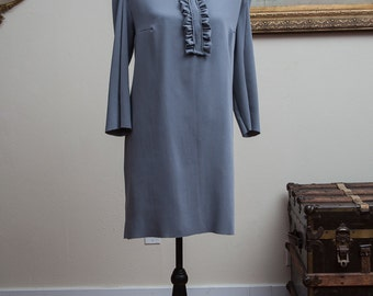Gray Shift Dress with Ruffle Jabot Collar