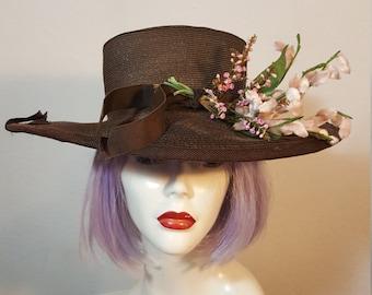 FREE  SHIPPING  1950 Large Brim Straw Hat