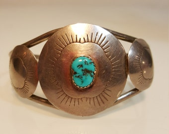 FREE  SHIPPING  Vintage  Navajo Turquoise Bracelet