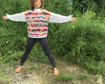 Vintage 1990's Cotton Geometric Sweater Small Medium S M