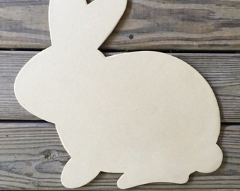 Unfinished Wood Bunny, Easter, Rabbit Shape, Wreath