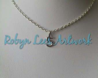Small Silver Number 5 Digit Necklace on Silver Crossed Chain, Numeral