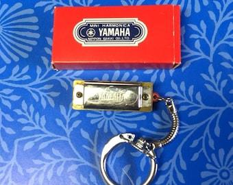 Vintage YAMAHA Mini Harmonica Keychain with orginal box/1940's 1950's