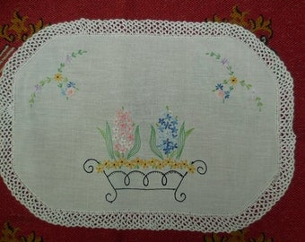 Vintage French Hand Embroidered Cloth