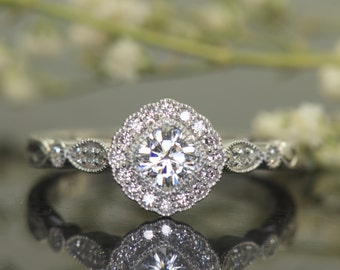 Cushion Cut Forever One Moissanite, Kite Set Scalloped Halo with Milgrain, 4mm/0.33ct Center, Hand Engraving and Antique Detailing, Henley