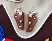 Light brown & silver 1950s style western holster earrings – pierced or clip