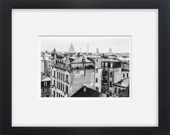 Riga city, black and white photography European art, wall art, Latvia