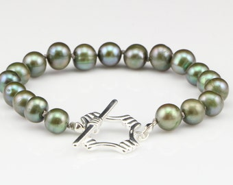Pearl Bracelet, Olive Green Pearls, Hand Knotted, with Sterling Silver, Square Toggle Clasp