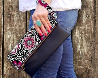 Original Design /Pink Flower Print Fold over Wristlet Clutch Bag with Faux Leather Base / Evening/Casual Clutch Purse