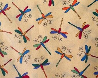 Dragonfly Fabric, Yellow, Fat Quarter