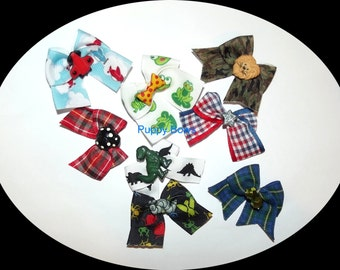 Puppy Bows ~ BOYS set of 8 bow green black blue ~USA seller