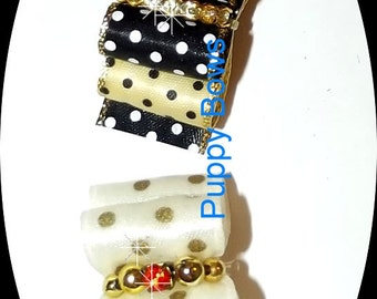 "Puppy Bows ~BLACK gold dots cream gold dots rhinestone centers 7/8"" Shih Tzu bands or barrette dog grooming"